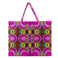 Colourful Abstract Background Design Pattern Zipper Large Tote Bag by Simbadda