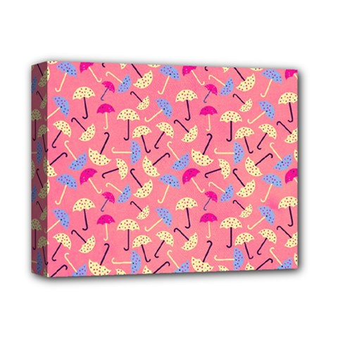 Umbrella Seamless Pattern Pink Deluxe Canvas 14  X 11  by Simbadda