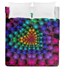 Mirror Fractal Balls On Black Background Duvet Cover Double Side (queen Size) by Simbadda