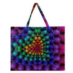 Mirror Fractal Balls On Black Background Zipper Large Tote Bag by Simbadda