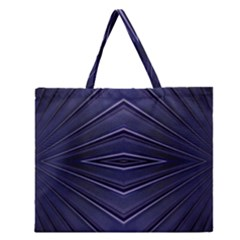 Blue Metal Abstract Alternative Version Zipper Large Tote Bag by Simbadda