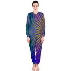 Blue Fractal That Looks Like A Starburst Onepiece Jumpsuit (ladies)