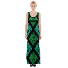 Vintage Paper Kraft Pattern Maxi Thigh Split Dress by Simbadda
