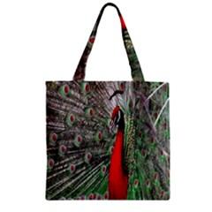 Red Peacock Zipper Grocery Tote Bag by Simbadda