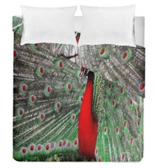 Red Peacock Duvet Cover Double Side (queen Size) by Simbadda