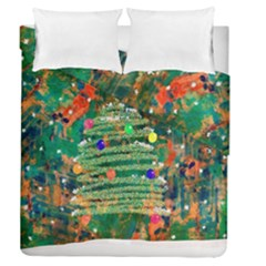 Watercolour Christmas Tree Painting Duvet Cover Double Side (Queen Size) by Simbadda