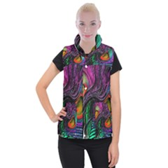 Peacock Feather Rainbow Women s Button Up Puffer Vest