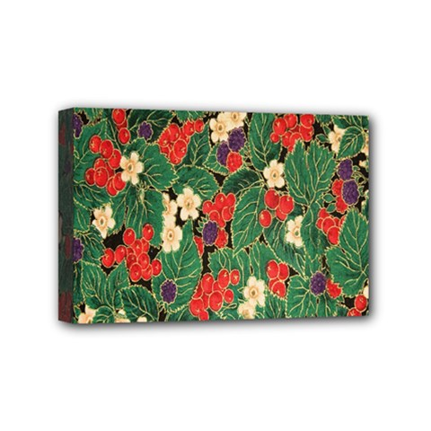 Berries And Leaves Mini Canvas 6  X 4  by Simbadda