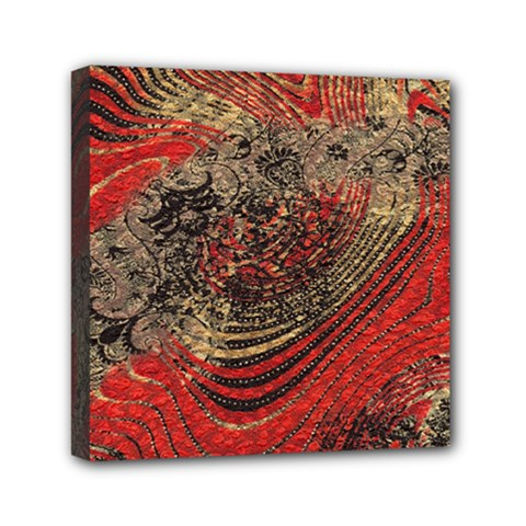 Red Gold Black Background Mini Canvas 6  X 6  by Simbadda
