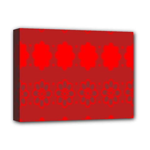 Red Flowers Velvet Flower Pattern Deluxe Canvas 16  X 12   by Simbadda