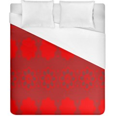 Red Flowers Velvet Flower Pattern Duvet Cover (california King Size) by Simbadda