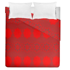 Red Flowers Velvet Flower Pattern Duvet Cover Double Side (queen Size) by Simbadda
