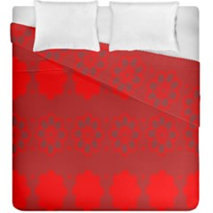 Red Flowers Velvet Flower Pattern Duvet Cover Double Side (king Size) by Simbadda