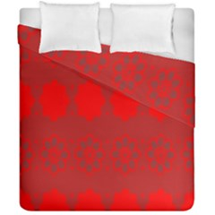 Red Flowers Velvet Flower Pattern Duvet Cover Double Side (california King Size) by Simbadda