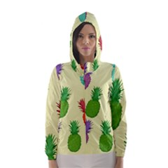 Colorful Pineapples Wallpaper Background Hooded Wind Breaker (Women) by Simbadda