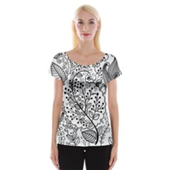 Black Abstract Floral Background Women s Cap Sleeve Top