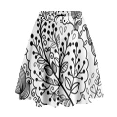 Black Abstract Floral Background High Waist Skirt by Simbadda