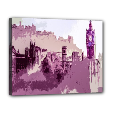 Abstract Painting Edinburgh Capital Of Scotland Canvas 14  X 11  by Simbadda
