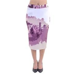 Abstract Painting Edinburgh Capital Of Scotland Velvet Midi Pencil Skirt