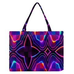 Rainbow Abstract Background Pattern Medium Zipper Tote Bag by Simbadda