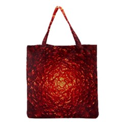 Abstract Red Lava Effect Grocery Tote Bag by Simbadda
