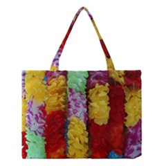 Colorful Hawaiian Lei Flowers Medium Tote Bag by Simbadda
