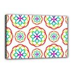 Geometric Circles Seamless Rainbow Colors Geometric Circles Seamless Pattern On White Background Canvas 18  x 12