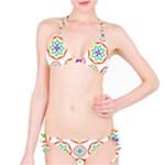 Geometric Circles Seamless Rainbow Colors Geometric Circles Seamless Pattern On White Background Bikini Set
