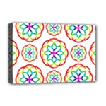 Geometric Circles Seamless Rainbow Colors Geometric Circles Seamless Pattern On White Background Deluxe Canvas 18  x 12