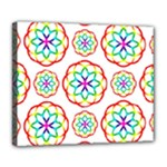 Geometric Circles Seamless Rainbow Colors Geometric Circles Seamless Pattern On White Background Deluxe Canvas 24  x 20