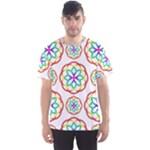 Geometric Circles Seamless Rainbow Colors Geometric Circles Seamless Pattern On White Background Men s Sport Mesh Tee