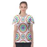 Geometric Circles Seamless Rainbow Colors Geometric Circles Seamless Pattern On White Background Women s Sport Mesh Tee