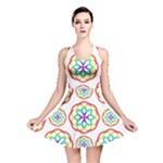 Geometric Circles Seamless Rainbow Colors Geometric Circles Seamless Pattern On White Background Reversible Skater Dress