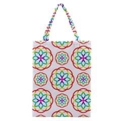 Geometric Circles Seamless Rainbow Colors Geometric Circles Seamless Pattern On White Background Classic Tote Bag by Simbadda