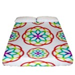 Geometric Circles Seamless Rainbow Colors Geometric Circles Seamless Pattern On White Background Fitted Sheet (Queen Size)