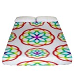Geometric Circles Seamless Rainbow Colors Geometric Circles Seamless Pattern On White Background Fitted Sheet (King Size)