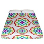 Geometric Circles Seamless Rainbow Colors Geometric Circles Seamless Pattern On White Background Fitted Sheet (California King Size)