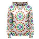 Geometric Circles Seamless Rainbow Colors Geometric Circles Seamless Pattern On White Background Women s Pullover Hoodie