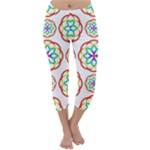 Geometric Circles Seamless Rainbow Colors Geometric Circles Seamless Pattern On White Background Capri Winter Leggings