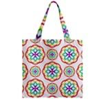 Geometric Circles Seamless Rainbow Colors Geometric Circles Seamless Pattern On White Background Zipper Grocery Tote Bag