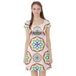 Geometric Circles Seamless Rainbow Colors Geometric Circles Seamless Pattern On White Background Short Sleeve Skater Dress