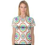 Geometric Circles Seamless Rainbow Colors Geometric Circles Seamless Pattern On White Background Women s V-Neck Sport Mesh Tee