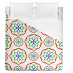 Geometric Circles Seamless Rainbow Colors Geometric Circles Seamless Pattern On White Background Duvet Cover (Queen Size)