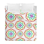 Geometric Circles Seamless Rainbow Colors Geometric Circles Seamless Pattern On White Background Duvet Cover Double Side (Full/ Double Size)