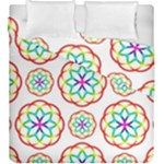 Geometric Circles Seamless Rainbow Colors Geometric Circles Seamless Pattern On White Background Duvet Cover Double Side (King Size)