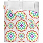 Geometric Circles Seamless Rainbow Colors Geometric Circles Seamless Pattern On White Background Duvet Cover Double Side (California King Size)