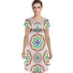 Geometric Circles Seamless Rainbow Colors Geometric Circles Seamless Pattern On White Background Cap Sleeve Nightdress