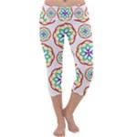 Geometric Circles Seamless Rainbow Colors Geometric Circles Seamless Pattern On White Background Capri Yoga Leggings