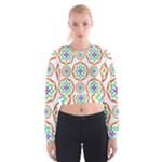 Geometric Circles Seamless Rainbow Colors Geometric Circles Seamless Pattern On White Background Women s Cropped Sweatshirt
