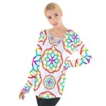 Geometric Circles Seamless Rainbow Colors Geometric Circles Seamless Pattern On White Background Women s Tie Up Tee
